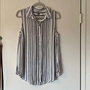 Black and white striped sleeveless button down